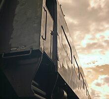 Train at Sunset - Lake Placid New York (Infrared) by Debbie Pinard
