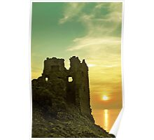 Sunsets over an ancient Scottish Castle Poster