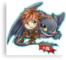 Httyd 2 - Chibi Hiccup and Toothless Canvas Print