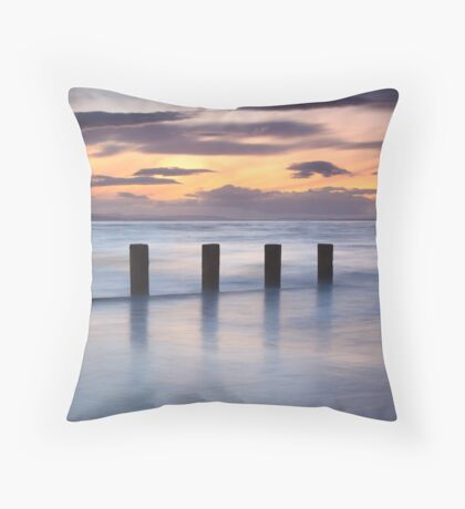 Groynes in the Gloaming, Findhorn Throw Pillow