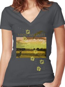 WILDLIFE Women's Fitted V-Neck T-Shirt