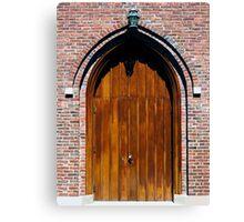 Gothic Wooden Church Door Canvas Print
