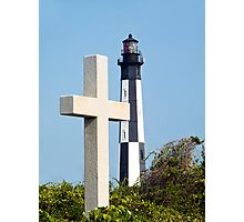 Cross and Lighthouse Juxtaposition Photographic Print