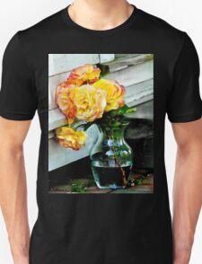 Beautiful vase full of yellow roses Unisex T-Shirt