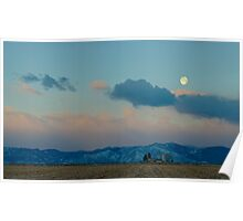 Moonset Over The Foothills Poster