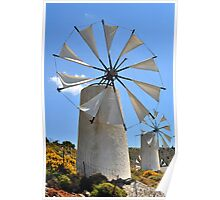 Windmills in Greece.  Poster