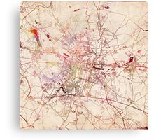 Poznan map watercolor painting Canvas Print