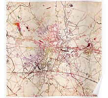 Poznan map watercolor painting Poster