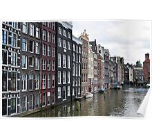 Amsterdam buildings and canal. Poster