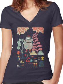 Bear Travel - Let's Go Women's Fitted V-Neck T-Shirt