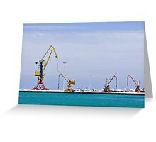 Cranes, loading equipment, port of Heraklion. Greeting Card