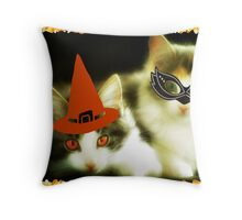 Have a Purrrfect Safe Halloween!!! © Throw Pillow