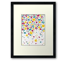 Toys falling like candies - white Framed Print