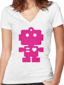 Robot - Magenta Women's Fitted V-Neck T-Shirt