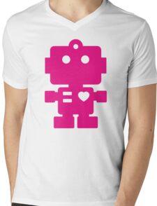 Robot - Magenta Mens V-Neck T-Shirt