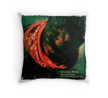 Graeme Riley, Ace of Cats (close up portrait) Throw Pillow