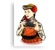 Vintage pin-up tattoo Canvas Print