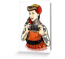 Vintage pin-up tattoo Greeting Card