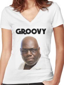 Carl Cox - Groovy Print Women's Fitted V-Neck T-Shirt