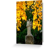 Sculpture of an angel with autumn leaves Greeting Card