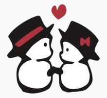 cute snowman couple vector art by cheeckymonkey