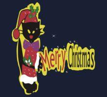 Merry Christmas txt Black cat vector art Kids Tee