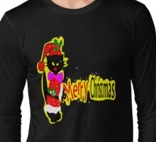 Merry Christmas txt Black cat vector art Long Sleeve T-Shirt