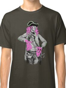Portrait of Colonial Officer with Large Pink Face-Hands Classic T-Shirt