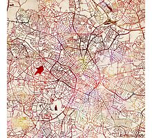 Birmingham map watercolor Photographic Print