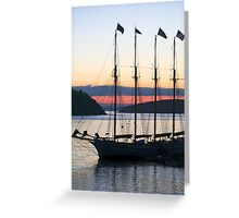 Four-masted Schooner, Bar Harbor, Maine Greeting Card