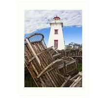 Lighthouse and Old Lobster Traps, North Rustico, PEI Art Print