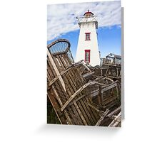 Lighthouse and Old Lobster Traps, North Rustico, PEI Greeting Card