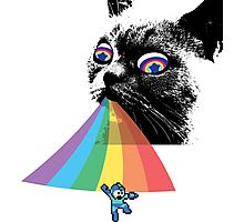 Rainbow Cat vs Mega Man Photographic Print