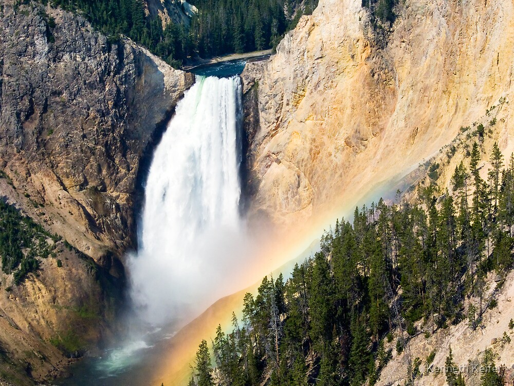 Morning Rainbow Over Lower Falls of the Yellowstone by Kenneth Keifer