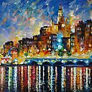 GLOWING HARBOR - LEONID AFREMOV by Leonid  Afremov