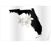 Florida Silhouette and Flowers Poster