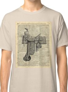 Vintage Horseriding Saddle, Dictionary Art, Antique Item Classic T-Shirt