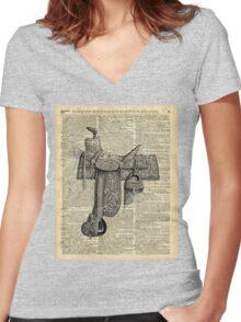 Vintage Horseriding Saddle, Dictionary Art, Antique Item Women's Fitted V-Neck T-Shirt