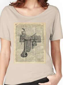 Vintage Horseriding Saddle, Dictionary Art, Antique Item Women's Relaxed Fit T-Shirt