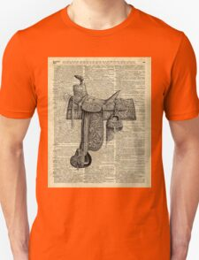 Vintage Horseriding Saddle, Dictionary Art, Antique Item Unisex T-Shirt