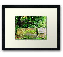 A Wooden Bench Framed Print