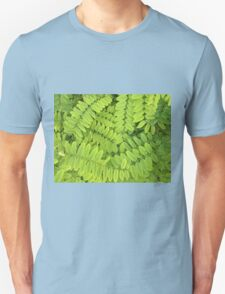 Bright green leaves and small acacia with dew drops Unisex T-Shirt