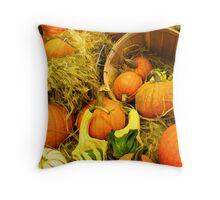 Fall Autumn Harvest - Pumpkins, Gourds & Squash in Wooden Bushels & Baskets Throw Pillow