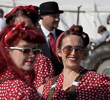 Ladies in Red, white polka dots, Goodwood Revival, 2011 by herbpayne