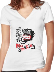 No Smoking - monster Women's Fitted V-Neck T-Shirt