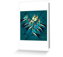 Swallows in Blue Greeting Card