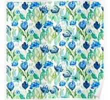 Blue watercolour flowers Poster