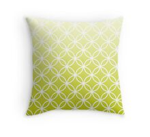 Chartreuse Ombre Lattice Circles Throw Pillow