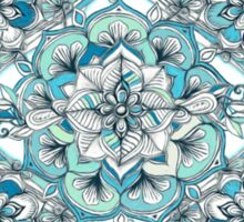 Floral Diamond Doodle in Teal and Turquoise Sticker