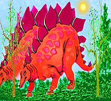 Stegosaurus in Autumn by Margaret Stevens